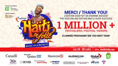 FESTIVAL HAÏTI EN FOLIE 2020 EN LIGNE 1 MILLION ET + DE FOIS MERCI!