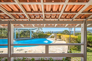 salao, vista da piscina, Recanto Villa d