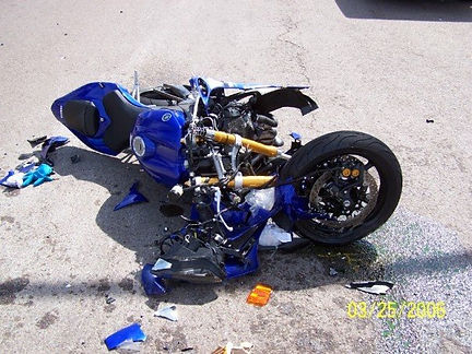 Scene of the accident: my motorcycle after the accident photographed by a friend