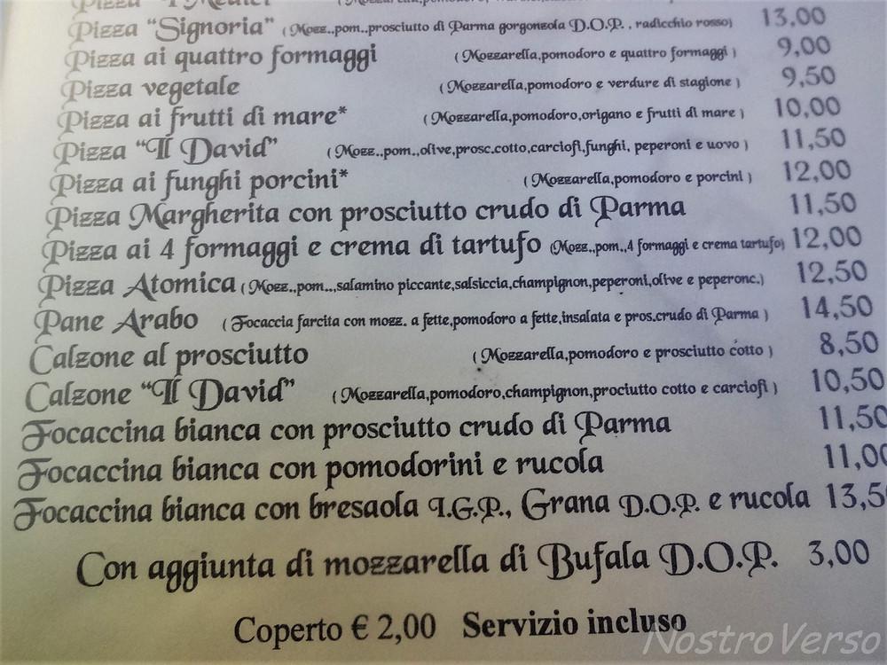 Cardápio em Florença
