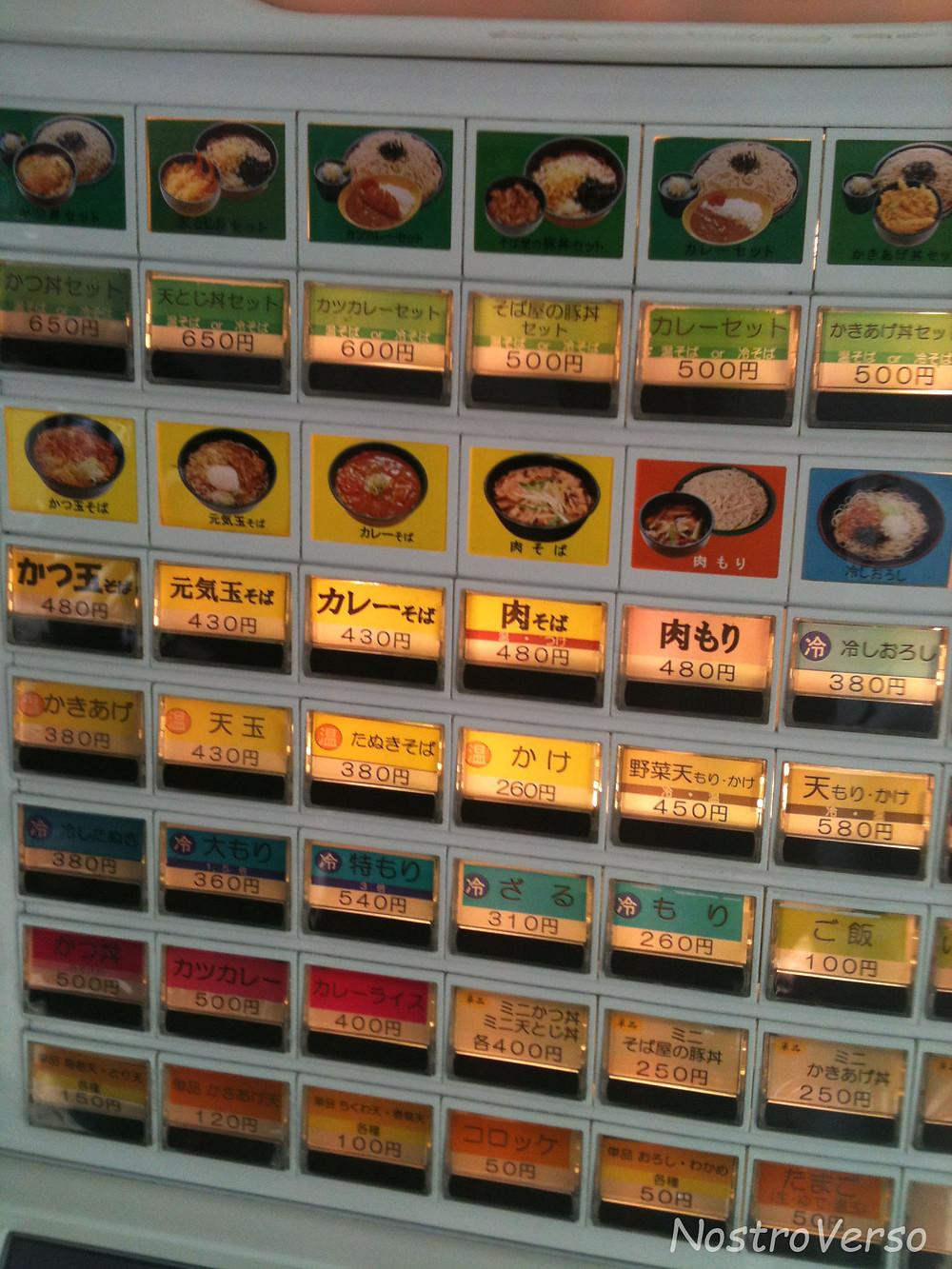 Máquina de Comprar Comida no Japão