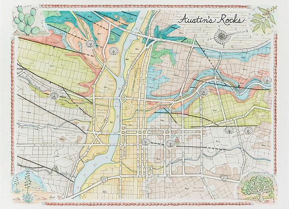 Austin's Rocks: Illustrated Geology Map