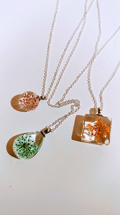 Resin Pendants with Silver Necklace