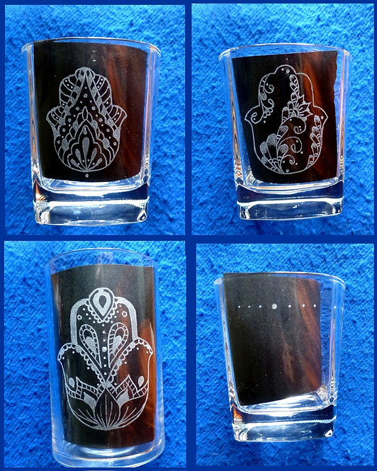 Hamsa Hand of Fatima Lotus Drops & Lines, Flowers, Mandala 170ml 200ml