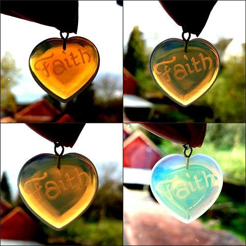 Faith Heart Pendant, milky, Moonstone (imitation), Mondstein