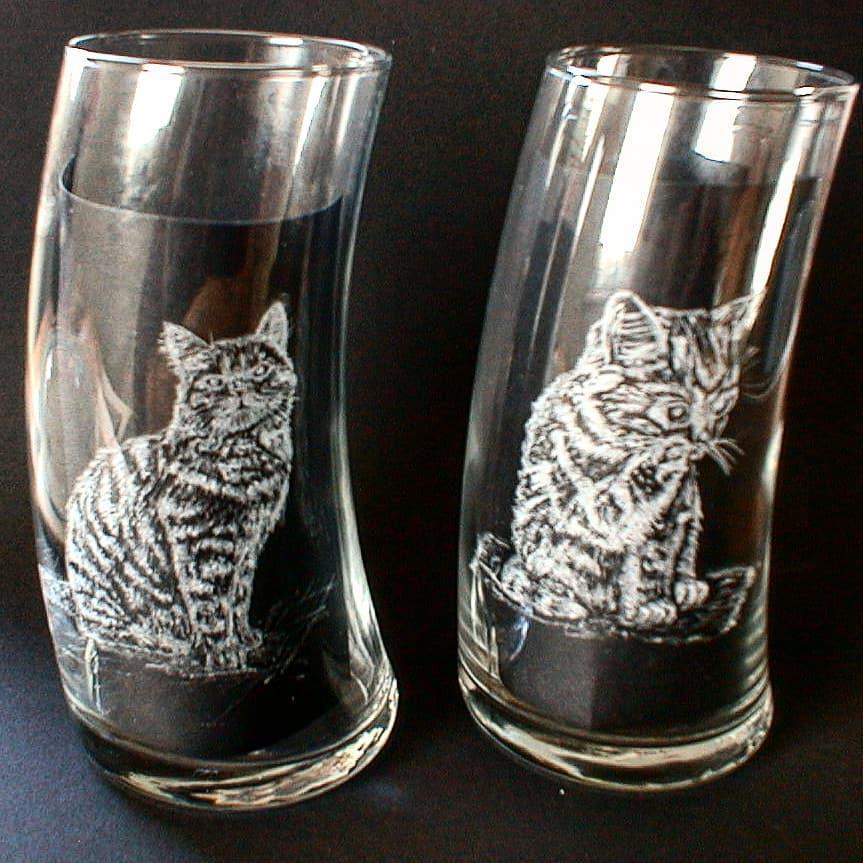 Katze per Hand graviert - Cat engraved by hand
