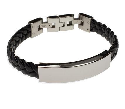 ID Bracelet Faux Leather Stainless Steel/ Armband Kunstleder Edelstahl 19 - 23cm