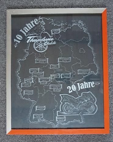 Thunderace Landkarte Motorradclub Bilderrahmen per Hand graviert