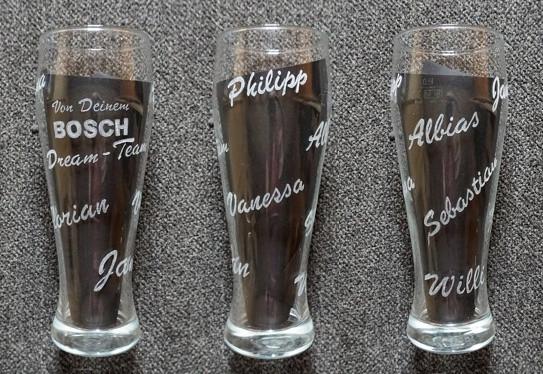 Bosch Car Sevice Weizenglas, mit Namen der Angestellten  - nach Wunsch per Hand gefertigt