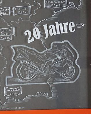 Thunderace Motorrad per Hand graviert