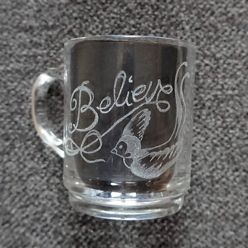 Believe and Bird Old School Swallow/ Schwalbe, Tea Glass/ Teetasse
