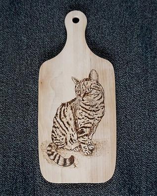 Katze auf Holz gebrannt - Cat on Wood handmade