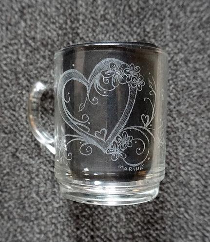 Heart and Flowers - filigranes Herz und Blüten 200ml Tee Glass/ Mug - Teetasse