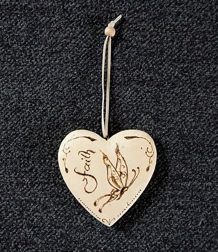 Wooden Decoration Heart - Holzherz/ Dekoherz - Faith Butterfly
