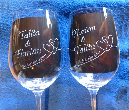 Set Wine Glass/ Weinglas 47cl - Name & Heart & Date