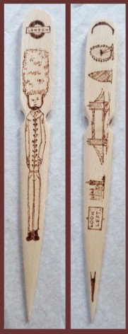 London - Paper Knife / Brieföffner - Wood / Holz Decoration