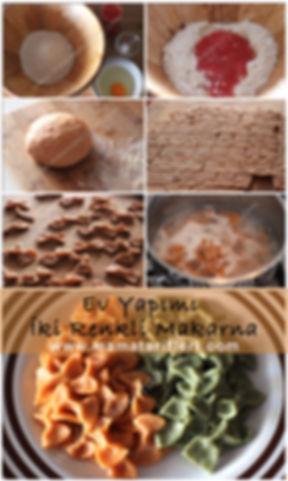 Tam tahıllı,iki renkli (ıspanaklı ve domatesli) ev yapımı makarna tarifi
