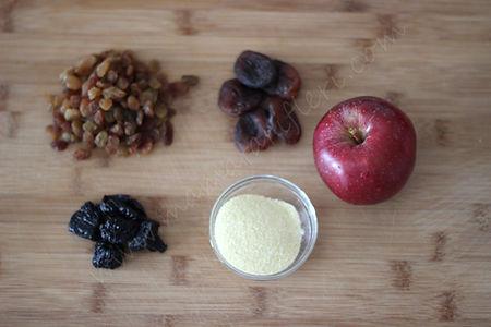 8 aylık bebekler için ek gıda irmikli kuru meyveler