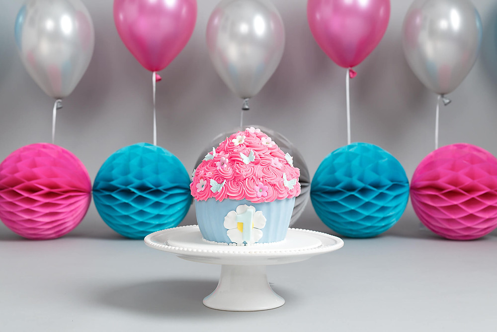 Blue & Pink Cake Smash Cake Petite Portraits Photography Sheffield Rotherham