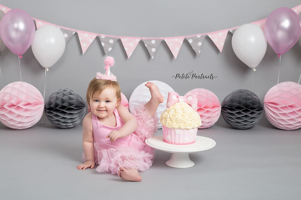 Pink & Grey Cake Smash at Petite Portraits Photography Rotherham Sheffield