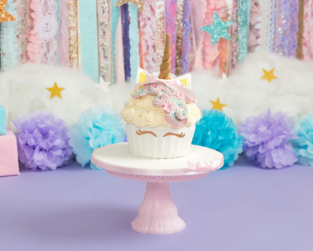 petite portraits photography unicorn cake smash photo shoot cake