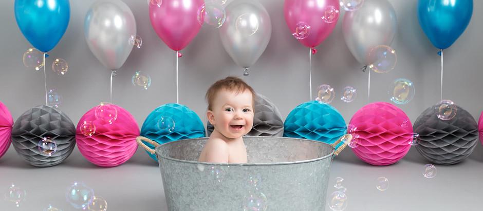 Baby E's Pink, Blue & Grey Cake Smash Photo Shoot