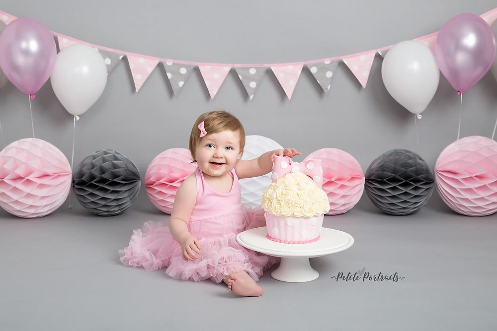 sheffield cake smash photo shoot pink grey white