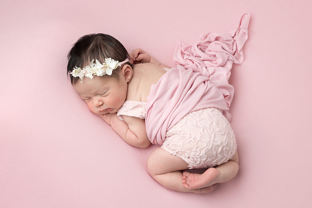 Baby Girl in Pink Newborns Petite Portraits Photography Sheffield