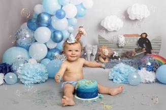 1st birthday baby boy cake smash photosh