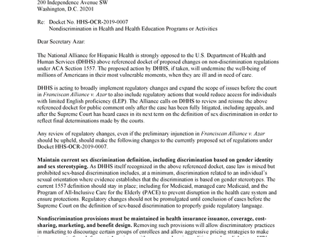 Letter to The Honorable Alex Azar