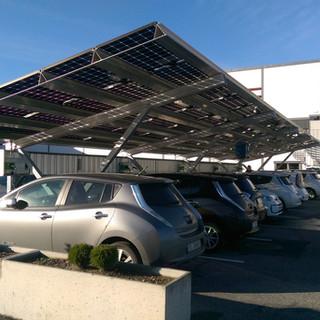Tosidige solcellepaneler i dobbelt sikkerhetsglass for solcellecarport