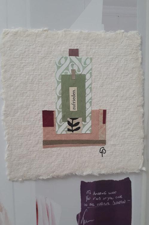 """Collage """"zufrieden""""  - 10 x 10 cm"""
