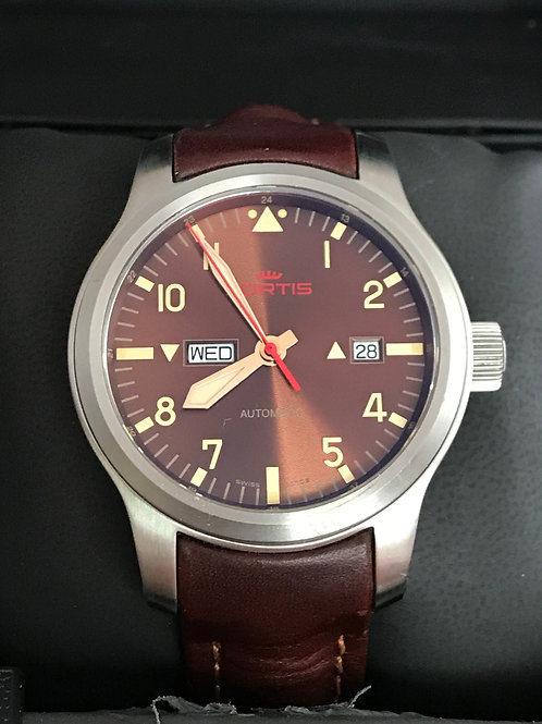 Fortis Aeromaster Dawn Brown Dial 42mm Automatic Day Date Complete Set RARE