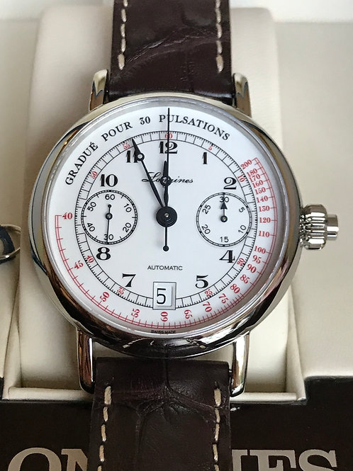 Longines Pulsometer Heritage Monopoussoir 40mm Steel Automatic Complete Set SOLD