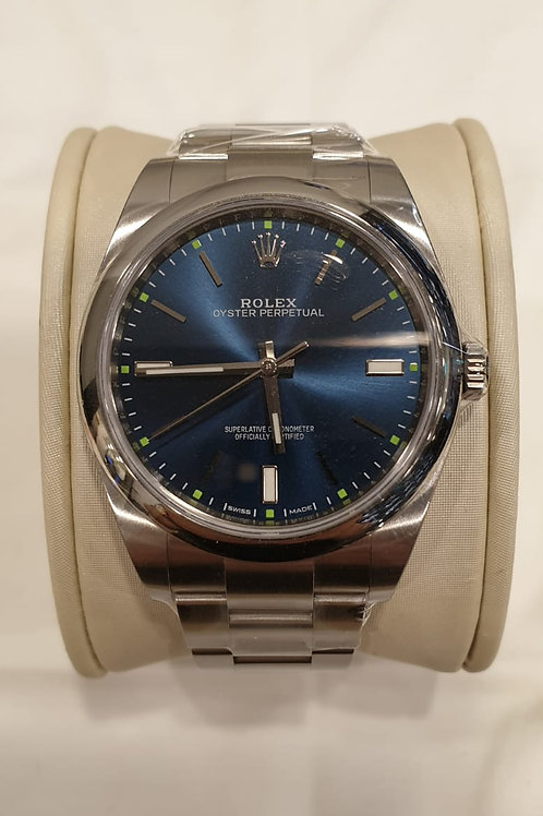 Rolex Oyster Perpetual Blue Dial 39mm Complete Set Under Rolex Warranty SOLD