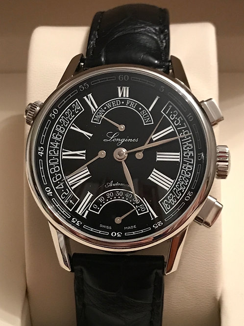 Longines Heritage Retrograde GMT Automatic 41mm Black Dial Mint Condition Very R