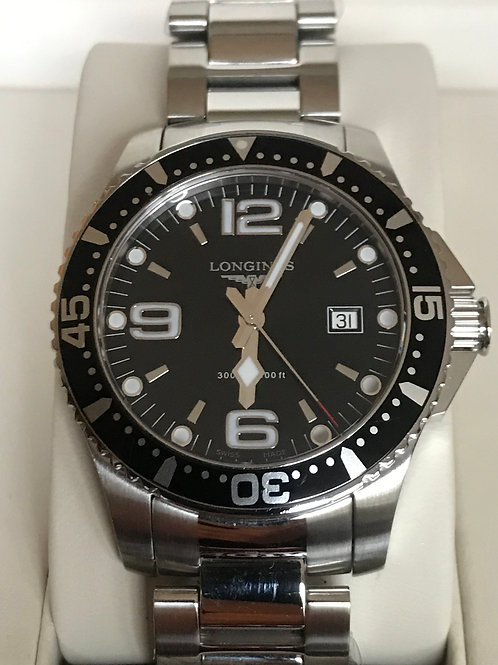 Longines Hydroconquest Quartz 39mm Black Dial Completely Serviced & polished Com