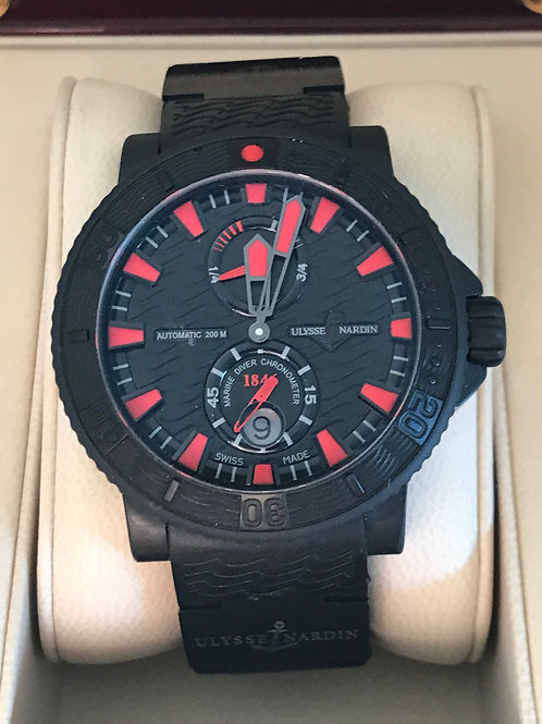 Ulysse Nardin Maxi Marine Black Sea Diver Automatic Black PVD Complete Set SOLD