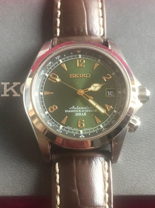 Seiko Alpinist SARB017 Green Dial Complete Set Hirsch Strap MINT SOLD