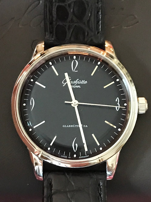 Glashutte Original Senator Sixties Steel 3 Hand Black Dial SOLD
