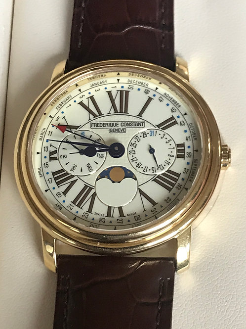 Frederique Constant Business Timer Yellow Gold Plated 40mm Quartz Complete Set N