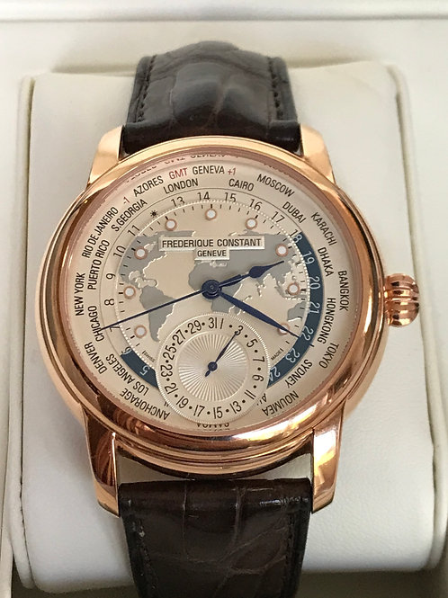 Frederique Constant Worldtimer Manufacture Rose Gold Plated 42mm LTD ED SOLD