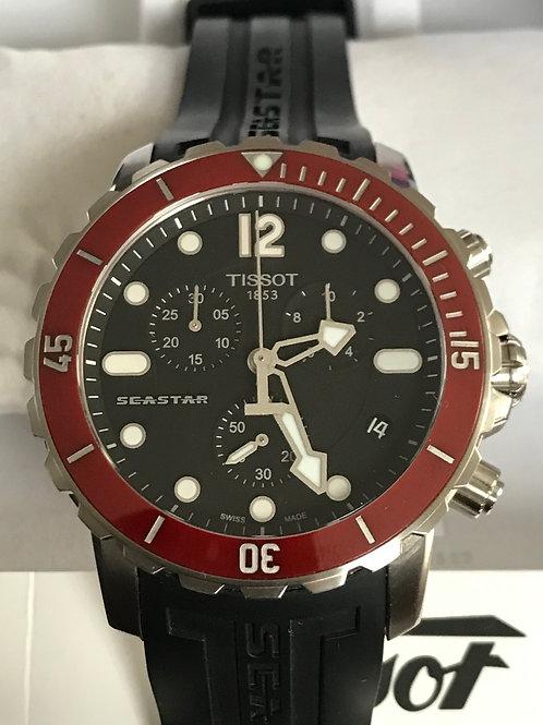 Tissot Seastar 1000 Chronograph Quartz 45mm Red Ceramic Bezel Serviced MINT