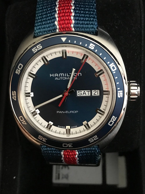 Hamilton Pan Europ Day Date Blue Dial Mint Complete Set SOLD