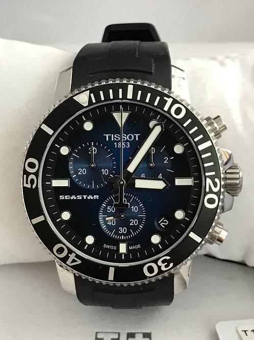Tissot Seastar 1000 Chronograph Quartz Blue Dial 45mm Under Warranty MINT Comple