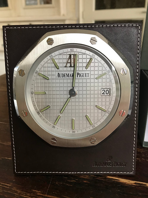 Audemars Piguet Royal Oak Table Clock Steel/Leather 8-Day Winding 15.5x13cm SOLD