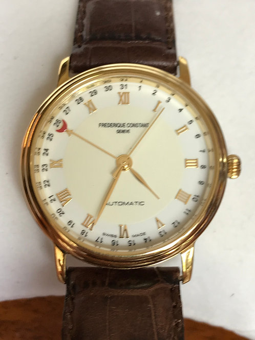 Frederique Constant Classics Pointer Date 34mm Automatic Yellow Gold Plated NOS