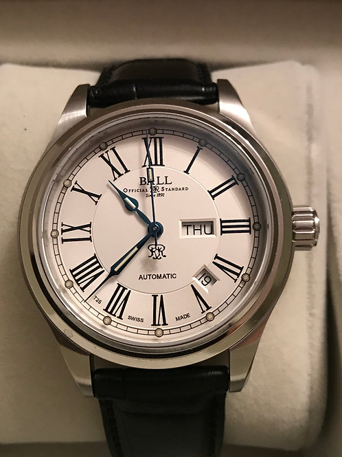 Ball Trainmaster Roman White Dial 41mm Automatic Day/Date Mint Under Warranty