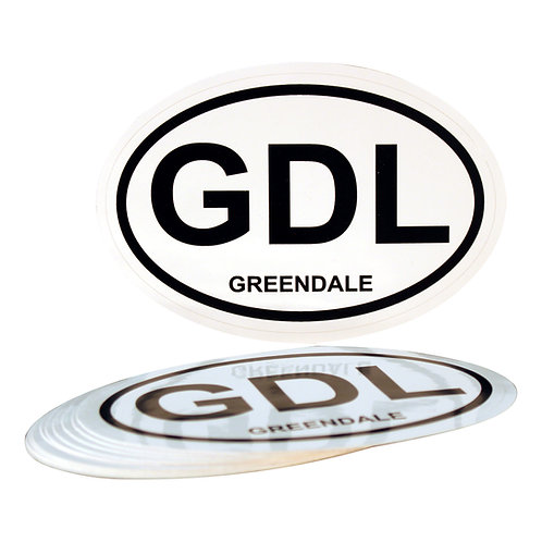 "Greendale Oval Car Sticker - 3"" x 4-1/2"" Vinyl Sticker"