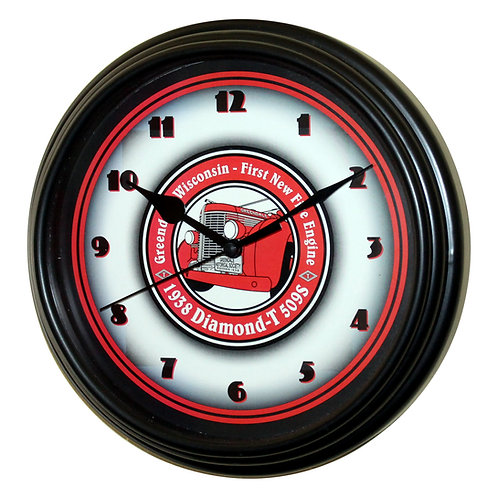 "1938 Diamond-T - 8.75"" Black Plastic Wall Clock"